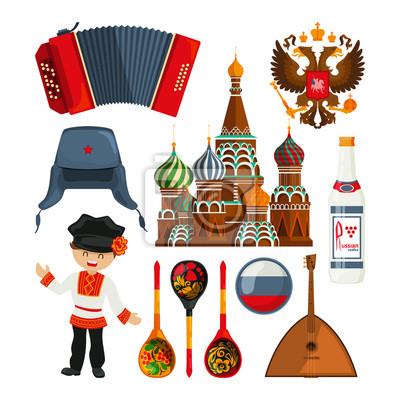 Russische Wahrzeichen und verschiedene traditionelle Symbole