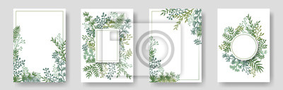 Sticker Rustic invitation cards with herbal twig branches wreath and corners border frames.
