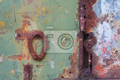 Rusty Metalloberflächen mit Nieten und ein Hufeisen
