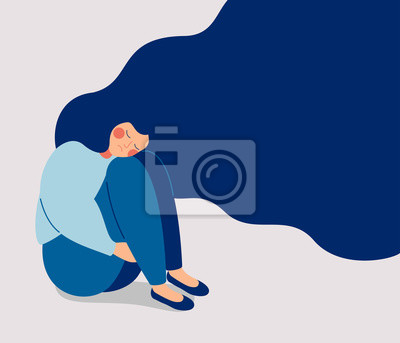 Sticker Sad lonely Woman in depression with flying hair. Young unhappy girl sitting and hugging her knees. Depressed teenager. Colorful vector illustration in flat cartoon style