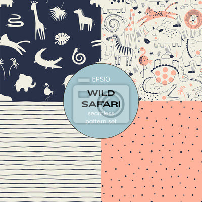 Safari themed vector seamless background set includes african wild animals, stripes, polka dots patterns, vector graphics, kids and baby summer textile tee shirt apparel print
