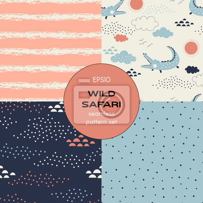 Safari themed vector seamless background set includes grunge stripes, crocodile, dotty abstract, polka dots patterns, vector graphics, kids and baby summer textile tee shirt apparel print