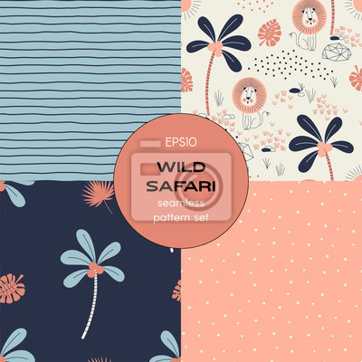Safari themed vector seamless background set includes grunge stripes, lion, palm tree, polka dots patterns, vector graphics, kids and baby summer textile tee shirt apparel print