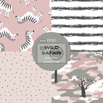 Safari themed vector seamless background set includes polka dots, grunge stripes, zebra and camouflage patterns, vector graphics, kids and baby summer textile tee shirt apparel print