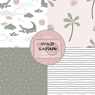 Safari themed vector seamless background set includes stripes, crocodile, palm tree, polka dots patterns, vector graphics, kids and baby summer textile tee shirt apparel print