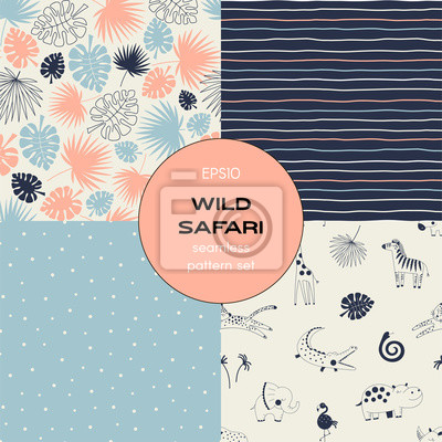 Safari themed vector seamless background set includes tropical leaves, stripes, african animals and polka dots patterns, vector graphics, kids and baby summer textile tee shirt apparel print