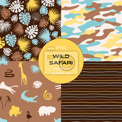 Safari themed vector seamless background set includes tropical leaves, stripes, african animals silhuettes and camouflage patterns, vector graphics, kids and baby summer textile tee shirt apparel