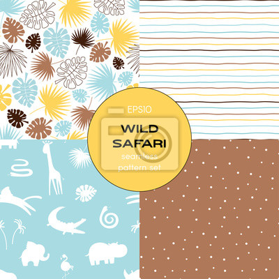Safari themed vector seamless background set includes tropical leaves, stripes, african animals silhuettes and polka dots patterns, vector graphics, kids and baby summer textile tee shirt apparel