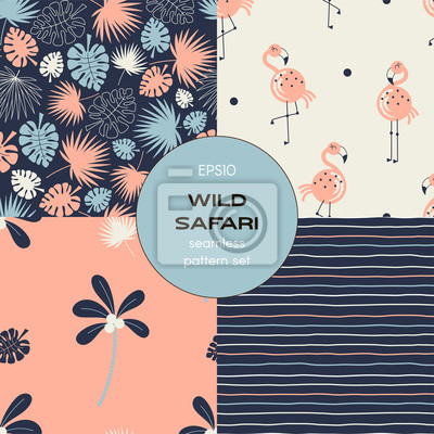 Safari themed vector seamless background set includes tropical leaves, stripes, flamingo and palm tree patterns, vector graphics, kids and baby summer textile tee shirt apparel print