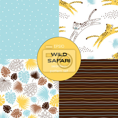 Safari themed vector seamless background set includes tropical leaves, stripes, leopard and polka dots patterns, vector graphics, kids and baby summer textile tee shirt apparel print