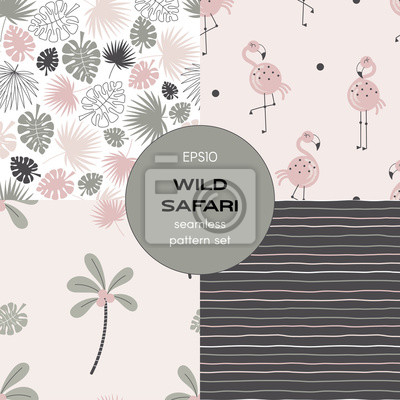Safari themed vector seamless background set includes tropical leaves, stripes, pink flamingo and palm tree patterns, vector graphics, kids and baby summer textile tee shirt apparel print