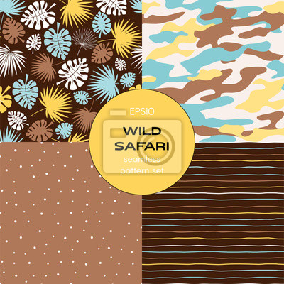 Safari themed vector seamless background set includes tropical leaves, stripes, polka dots and camouflage patterns, vector graphics, kids and baby summer textile tee shirt apparel print