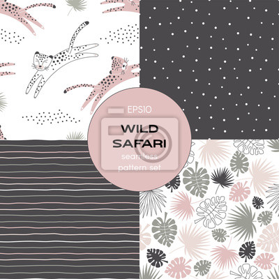 Safari themed vector seamless background set includes tropical leaves, stripes, polka dots and leopard patterns, vector graphics, kids and baby summer textile tee shirt apparel print