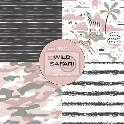 Safari themed vector seamless background set includes zebra leopard snake african animals, stripes and camouflage patterns, vector graphics, kids and baby summer textile tee shirt apparel print