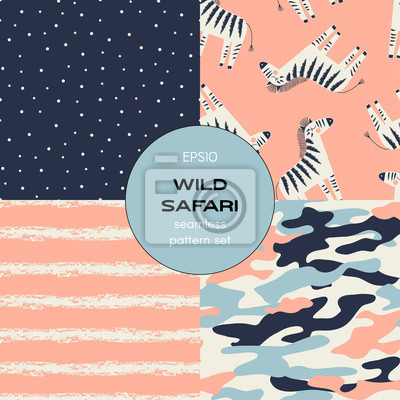 Safari themed vector seamless background set includes zebra, stripes, polka dots and camouflage patterns, vector graphics, kids and baby summer textile tee shirt apparel print