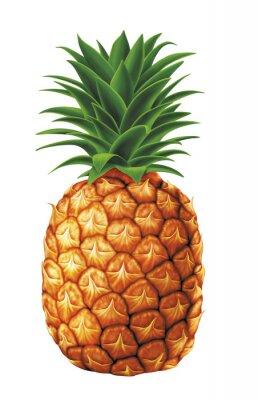 Sticker saftig frischen Wassertropfen von Ananas auf weißem Hintergrund