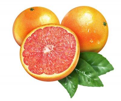 Sticker Saftige frische Grapefruit auf whtie Hintergrund