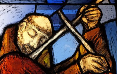 Sticker Saint Francis of Assisi, detail of stained glass window by Sieger Koder in Franciscan abbey in Kleinostheim, Germany