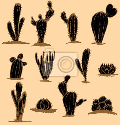 Sammlung Hand gezeichnet Kakteen, Vektor-Illustration. Verschiedene Arten von Kaktus Pflanzen dekorative Symbole isoliert. Stilisiert, braun
