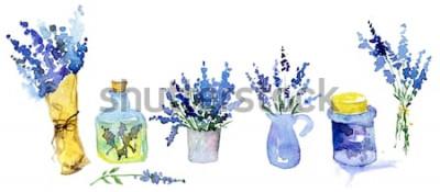 Sticker Sammlung Lavendelblumen auf einem weißen Hintergrund. Vintage Blumen gesetzt. Kräuter aus dem Garten. Kräuter, isoliert auf weiss. Kräuter Pflanze. Gartengestaltung auf dem Land. Blumengeschäft, Pflan