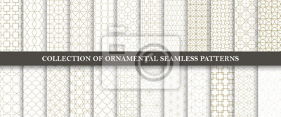 Sticker Sammlung nahtlose dekorative Vektormuster. Grid geometrisches orientalisches Design.