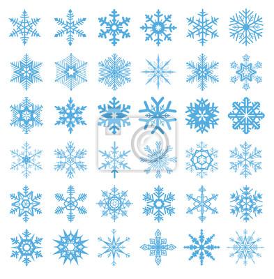 Sammlung von 36 Schneeflocken Vektor