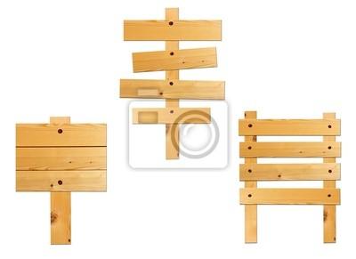 Sammlung von Holzbrett Zeichen auf weißem isoliert