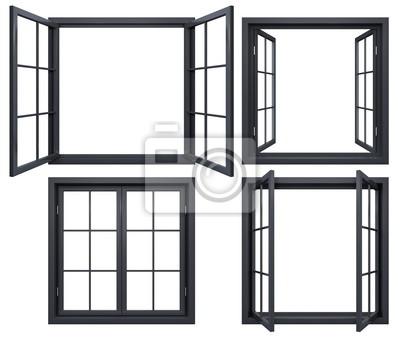 Sticker Sammlung von schwarzen Fensterrahmen isoliert auf weiß