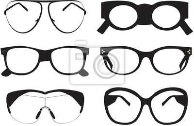 Sammlung von schwarzen Sonnenbrillen Icons