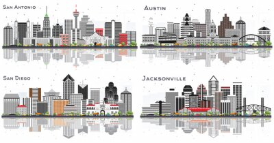 San Antonio and Austin Texas, Jacksonville Florida, San Diego California City Skylines with Gray Buildings and Reflections Isolated on White.