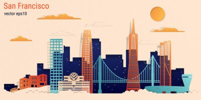 San Francisco city colorful paper cut style, vector stock illustration. Cityscape with all famous buildings. Skyline San Francisco city composition for design.