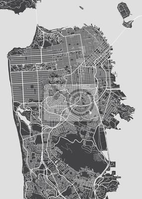 San Francisco Stadtplan, detaillierte Vektorkarte