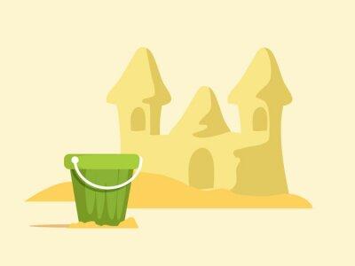 Sand castle cartoon vector color illustration