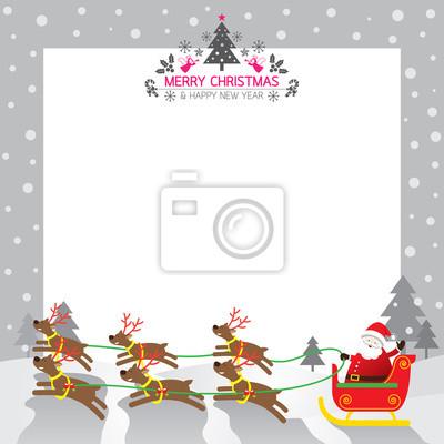 Sticker Sankt Pferdeschlitten, Rentier, Border & Hintergrund