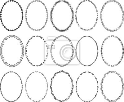 Sticker Satz dekorative ovale Grenzen - Gestaltungselemente