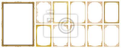 Sticker Satz dekorative Weinleserahmen und -grenzen eingestellt, Goldfotorahmen mit der Ecke Thailand-Linie mit Blumen für Bild, Vektordesign-Dekorationsmusterart. Grenzdesign ist Muster thailändische Kunstar