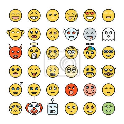 Satz des ausführlichen gelben Farbe emoji. Smileys im modernen Stil. Verschiedene Emotionen Gesichter. Emoticons-Sammlung.
