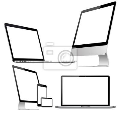 Satz des Computers, des Laptops, der Tablette und des Telefons in einer flachen Vektorart