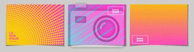 Sticker Satz horizontale abstrakte Hintergründe mit Halbtonmuster in Neonfarben.  Sammlung von Farbverlaufstexturen mit geometrischem Ornament.  Designvorlage von Flyer, Banner, Cover, Poster.  Vektor