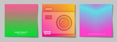 Sticker Satz quadratische abstrakte Hintergründe mit Halbtonmuster in Neonfarben.  Sammlung von Farbverlaufstexturen mit geometrischem Ornament.  Designvorlage von Flyer, Banner, Cover, Poster.  Vektor