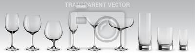 Sticker Satz Vektorbrillen.  Satz transparente Vektorgläser für Wein, Martini, Champagner und andere