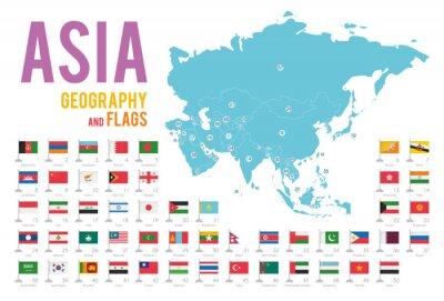 Sticker Satz von 50 Flaggen von Asien lokalisiert auf weißem Hintergrund und Karte von Asien mit den Ländern, die auf ihm aufgestellt werden.
