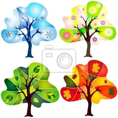Satz von abstrakte Mosaik Bäume