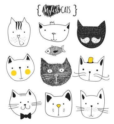 Sticker Satz von cute doodle Katzen. Skizze Katze. Katzen-Skizze. Katze handgefertigt. Drucken T-Shirts für die Katze. Druck für Kleidung. Kinder Gekritzel-Tiere. Stilvolle Mündungskatzen. Isolierte Katze. Ha