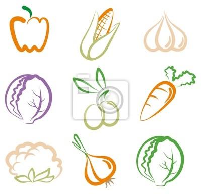 Satz von einfachen Bildern Gemüse