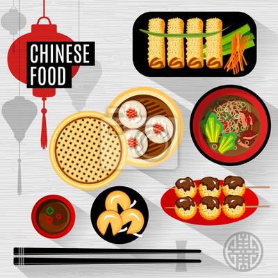 Satz von flachen Vektor-Elemente für chinesisches Restaurant