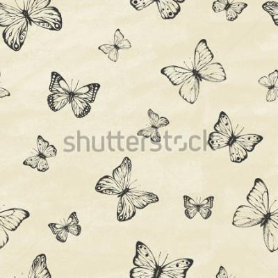 Sticker Satz von Hand gezeichneten Schmetterlingen. Entomologische Sammlung von sehr detaillierten handgezeichneten Schmetterlingen. Retro Vintage-Stil. Nahtloses Muster Vektor-illustration