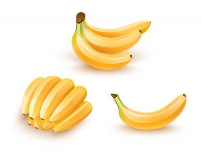 Sticker Satz von isolierten Bananen Früchte. Eps10 Abbildung.