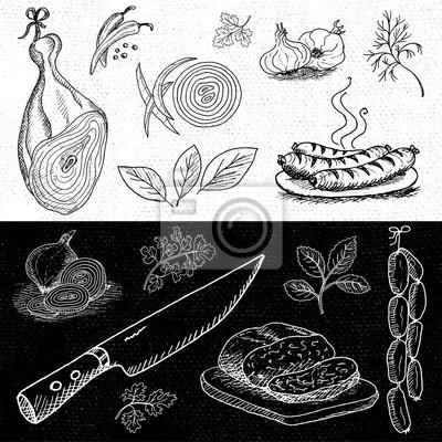 Satz von Kreide auf eine Tafel Essen, Gewürze gezeichnet.