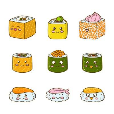 Sticker Satz von lustigen Sushi und Rollen